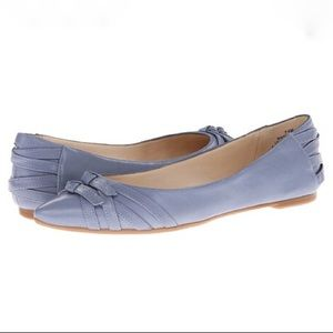 Nine West Flats Blue Leather Shoes Pointed Toe 6